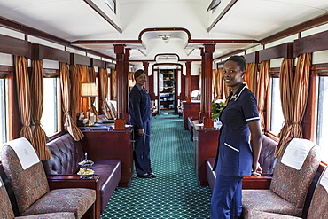 A lounge areas in the luxury train Rovos Rail (journey from Durban to Pretoria, South Africa)