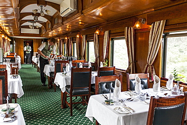 The buffet car in the luxury train Rovos Rail (journey from Durban to Pretoria, South Africa)