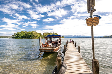 A ferry to Roseninsel on Lake Starnberg, Feldafing, Upper Bavaria