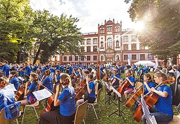 'Symphonic Mob', an open-air concert on the main university square in Rostock, Germany