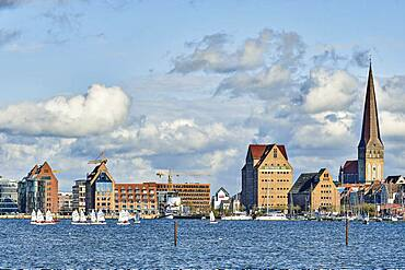 A view across the River Warnow to Rostock, Germany