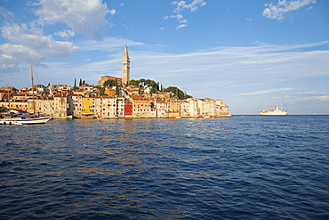 View of old town with ship in Rovinj, Croatia