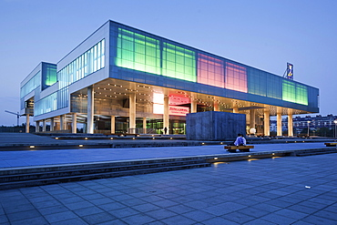 View of illuminated Museum Contemporary Art in Zagreb, Croatia