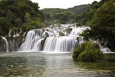 View of waterfall in krka National park in Dalmatia, Croatia
