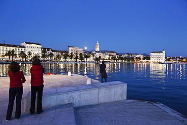 View of Split cityscape at dusk, Croatia