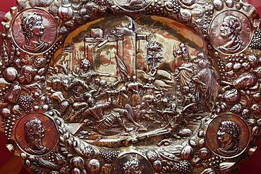 Close-up of ceremonial silver plate in Maximilian Museum in Augsburg, Bavaria, Germany