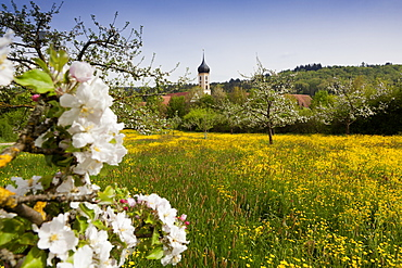 View of Oberschonenfeld Abbey and field in Augsburg, Bavaria, Germany