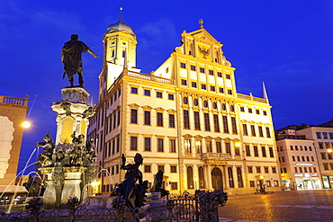 View of Augustus fountain and city hall in Augsburg, Bavaria, Germany