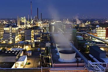 View of industrial park in Frankfurt, Hesse, Germany