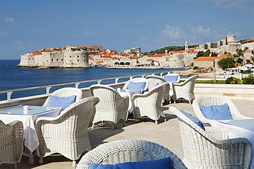 Breakfast terrace beside sea, Dubrovnik, Croatia