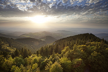 View of Black Forest, Rhine Valley and Schauinsland, Freiburg, Baden-Wurttemberg, Germany