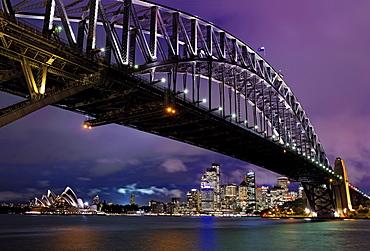 Sydney Harbour Bridge overlooking Opera House in New South Wales, Australia