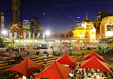 People at Federation Square, Flinders Street, Melbourne, Victoria, Australia