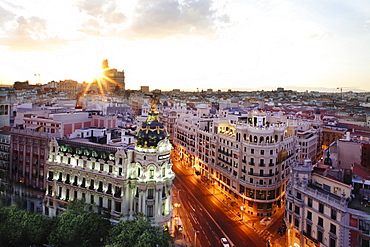 View of neoclassical houses at dusk, Madrid, Spain, long exposure