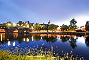View of old bridge and Berliner Promenade at Saarbrucken, Saarland, Germany