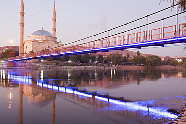 Mosque at Kizilirmak Red River with bridge, Avanos, Anatolia, Turkey