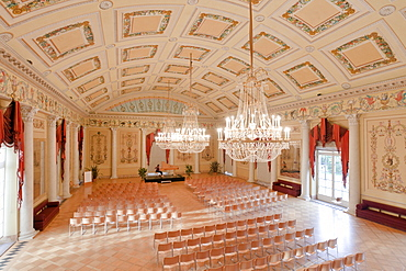 Ballroom of Lock Wilhelm height with chandelier, Kassel, Hesse, Germany