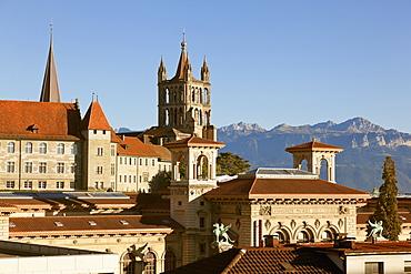 View of Palais de Rumine and Notre-Dame in Lausanne, Romandie, Lake Geneva, Switzerland