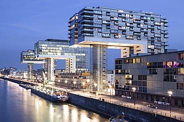 View of Kranhauser in Rheinauhafen in South City, Cologne, Germany