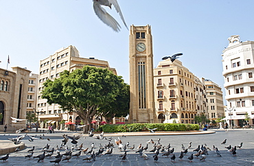 View of Hamidiya Clock Tower in Najmah Square at Place De L'Etoile, Beirut, Lebanon