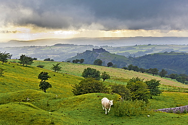 View of Brecon Beacons National Park and storm clouds in sky at Wales, UK