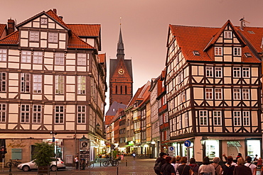 View of Market church and half-timbered houses on Kramer Street, Hannover, Germany