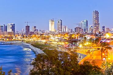 View of Neve Tzedek district skyline and Mediterranean at evening, Tel Aviv, Israel