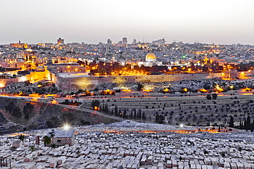 View of Dome of the Rock Cemetery in Temple Mount from Mount of Olives, Jerusalem, Israel