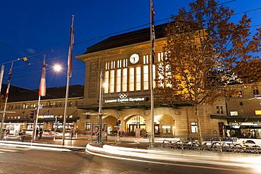 Facade of railway station in Lausanne, Canton of Vaud, Switzerland