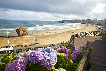 View of beach on Bay of Biscay in Biarritz, France