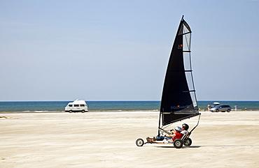 View of beach sailors at Fano beach, Denmark