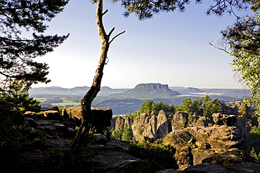 View of rocky mountains in Saxon Switzerland National Park, Saxony, Germany