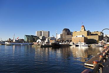 Boats moored on Halifax harbor, Nova Scotia, Canada