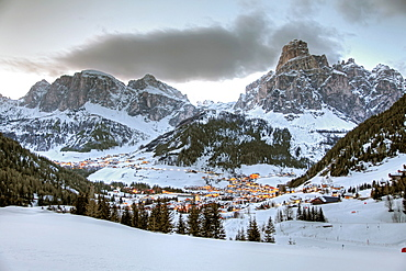 View of winter mountain at Dolomites, Corvara, South Tyrol, Italy