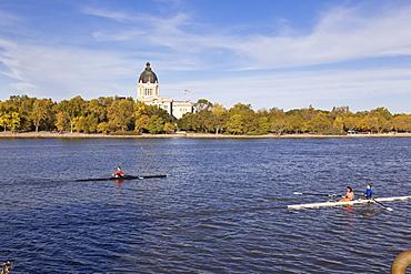 View of Legislative Assembly and  Wascana Lake in Regina, Saskatchewan, Canada