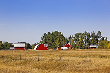View of houses and field on highway 35, Saskatchewan, Canada