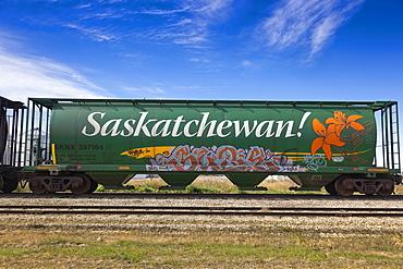 View of Tank Wagon in Lucky Lake, Saskatchewan, Canada