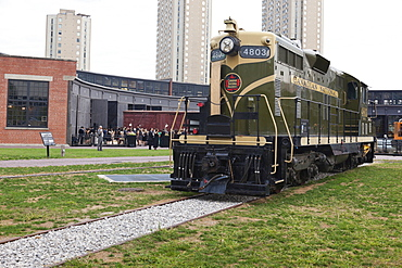 Disused locomotive in Canadian National Roundhouse Park, Toronto, Canada