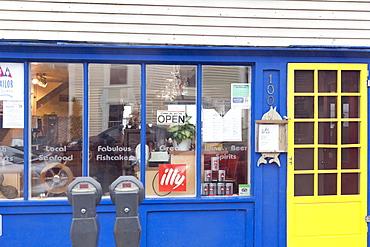 Entrance of Savvy Sailor cafe in Lunenburg, Nova Scotia, Canada