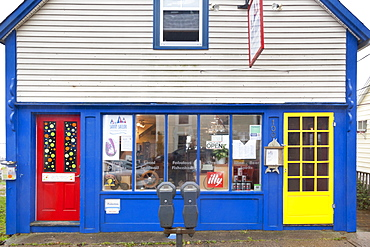 Entrance of Savvy Sailor cafe in Lunenburg, Nova Scotia, Canada
