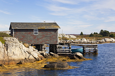 View of waterfront cottage near Halifax, Nova Scotia, Canada