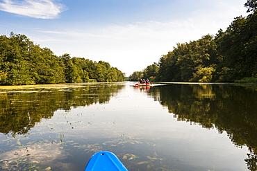 View of Wakenitzrestaurant canoe in Schleswig Holstein, Germany