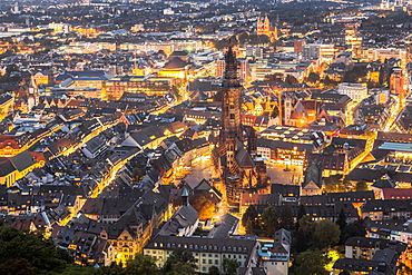 View of Freiburg im Breisgau cityscape from the Schlossberg, Baden-Wurttemberg, Germany