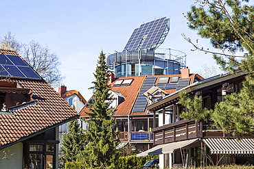 View of heliotrope house of solar architect Rolf Disch in Freiburg, Germany