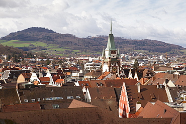 View of Old Town and St. Martin's church from Munster, Freiburg, Germany