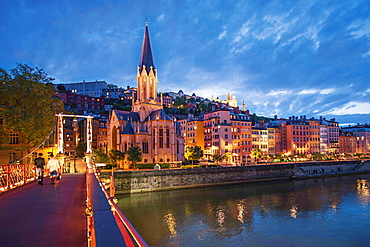 Illuminated Church of Saint-Georges in the Saone shore, Lyon, France