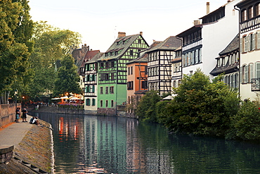 View of old quarter half-timbered houses at La Petite France, Strasbourg, France