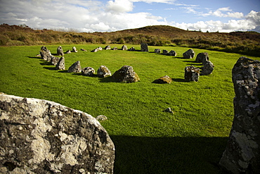 View of Tyrone stone circles on green landscape, Ireland, UK