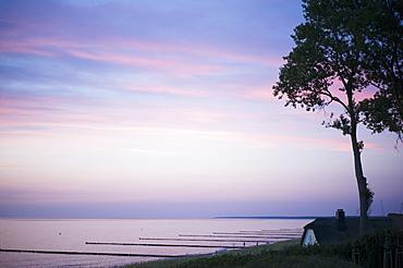 Dusk on the Baltic Sea coast in Ahrenshoop