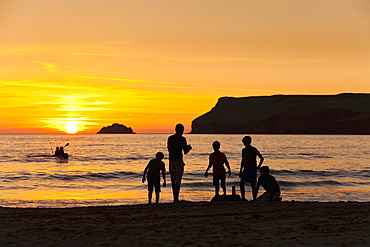 Sunset on Polzeath Beach (Cornwall, England)